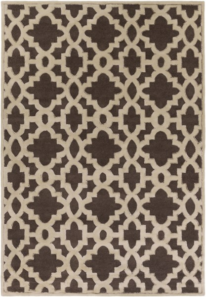 Modern Classics Chocolate Beige Wool Area Rug (L 156 X W 108) CAN2035-913