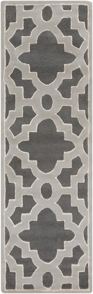 Modern Classics Contemporary Moss Gray Ivory Wool Runner (L 96 X W 30) CAN2040-268