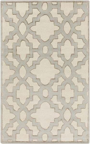 Modern Classics Ivory Gray Taupe Wool Area Rug (L 96 X W 60) CAN2041-58