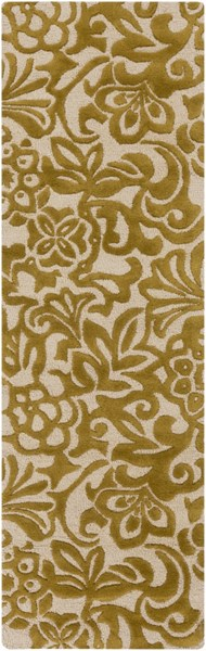 Modern Classics Contemporary Gold Beige Wool Runner (L 96 X W 30) CAN2045-268