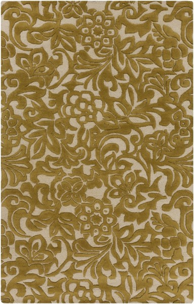 Modern Classics Contemporary Gold Beige Wool Area Rug (L 96 X W 60) CAN2045-58
