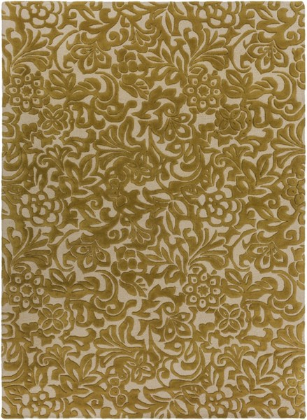 Modern Classics Contemporary Gold Beige Wool Area Rug (L 132 X W 96) CAN2045-811