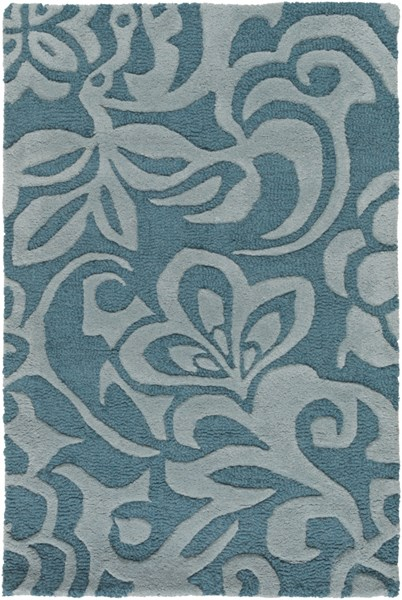 Modern Classics Contemporary Teal Moss Wool Area Rug (L 36 X W 24) CAN2047-23