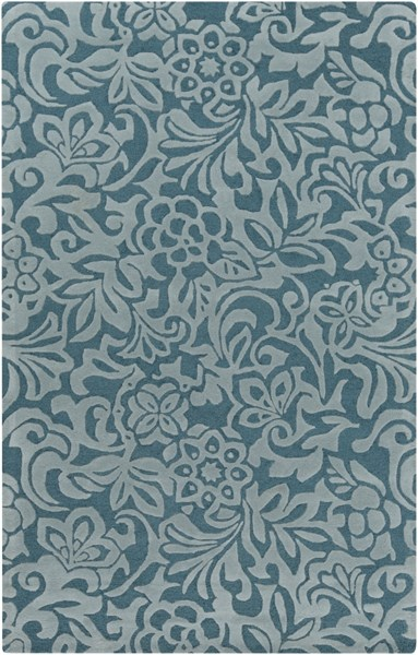 Modern Classics Contemporary Teal Moss Wool Area Rug (L 96 X W 60) CAN2047-58