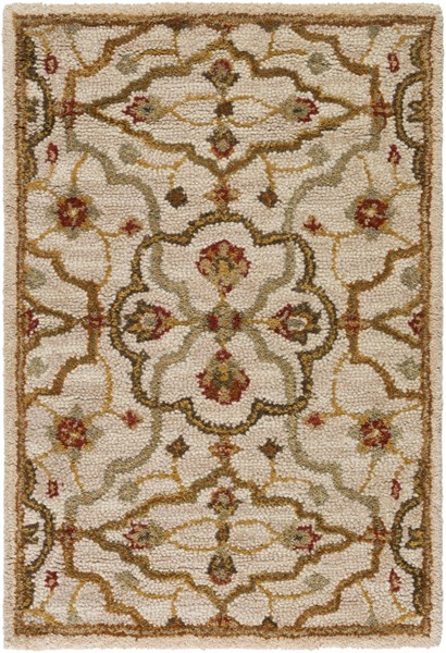 Carrington Traditional Beige Tan Gold Fabric Area Rugs 687-VAR1