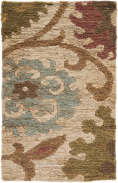 Columbia Contemporary Olive Rust Teal Jute Area Rug (L 36 X W 24) CBA106-23