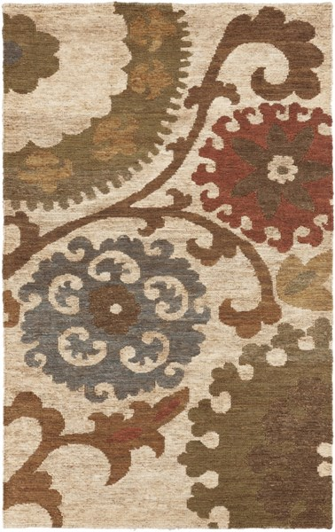 Columbia Contemporary Olive Rust Teal Jute Area Rug (L 96 X W 60) CBA106-58
