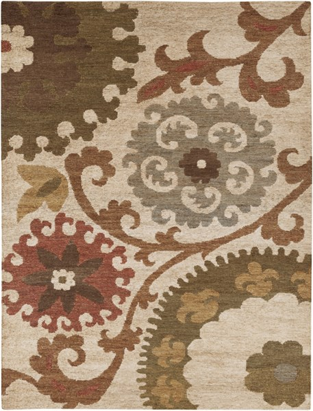 Columbia Contemporary Olive Rust Teal Jute Area Rug (L 132 X W 96) CBA106-811