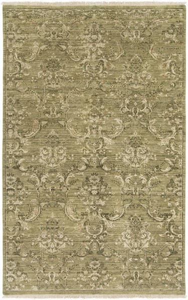 Cumberland Contemporary Olive Beige Wool Cotton Viscose Area Rugs 13188-VAR1