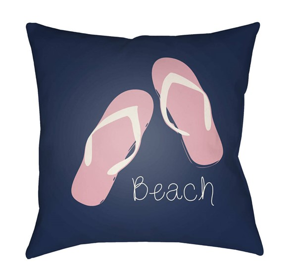 Surya Carolina Coastal Dark Blue Pink Pillow Cover - 18x18 CC006-1818
