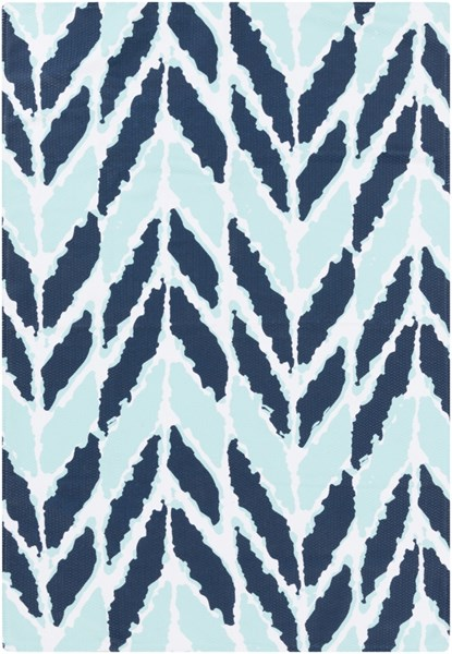 Cape Cod Coastal Mint Navy Ivory Polyester Area Rugs 1808-VAR1