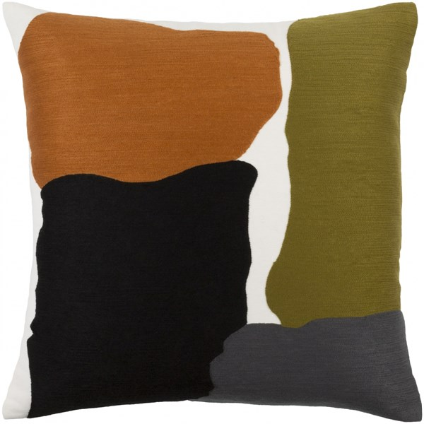 Charade Olive Charcoal Gray Down Cotton Throw Pillow - 18x18x4 15010-VAR1