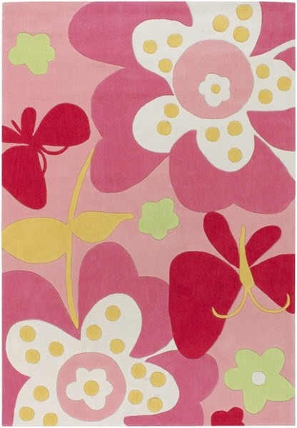 Chic Pink Carnation Ivory Polyester Kids Rug - 58 x 84 CHI1007-4107