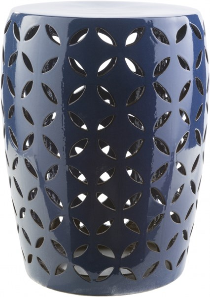 Chantilly Contemporary Cobalt Ceramic Stool - 13.4 x 13.4 x 17.7 CHT760-M