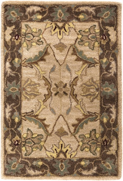 Clifton Beige Chocolate Gold New Zealand Wool Area Rug (L 36 X W 24) CLF1013-23