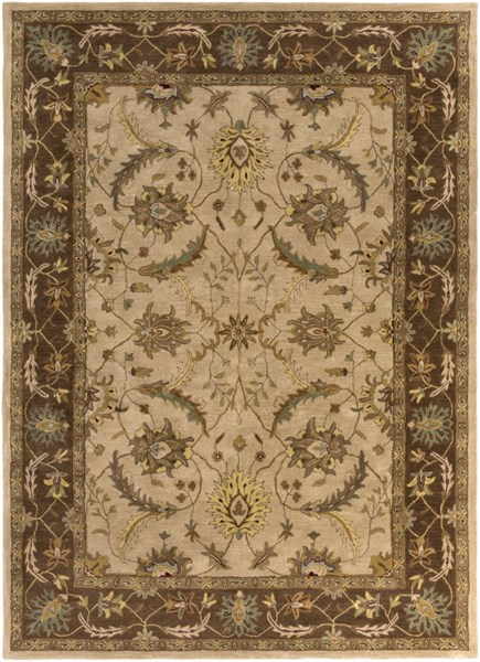 Clifton Beige Chocolate Gold New Zealand Wool Area Rug (L 132 X W 96) CLF1013-811