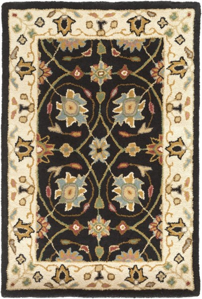 Clifton Traditional Black Peach Olive New Zealand Wool Area Rugs 1252-VAR1