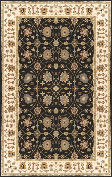 Clifton Black Peach Olive New Zealand Wool Area Rug (L 96 X W 60) CLF1024-58