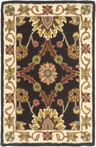 Clifton Traditional Black Ivory Olive New Zealand Wool Area Rugs 1250-VAR1
