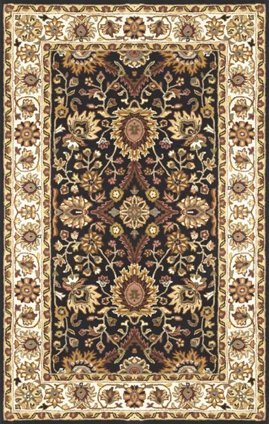 Clifton Black Olive Ivory New Zealand Wool Area Rug L 96