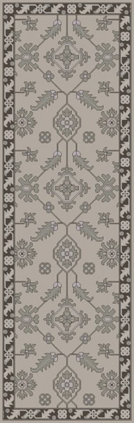 Castello Light Gray Charcoal Moss Wool Area Rug - 30 x 96 CLL1001-268
