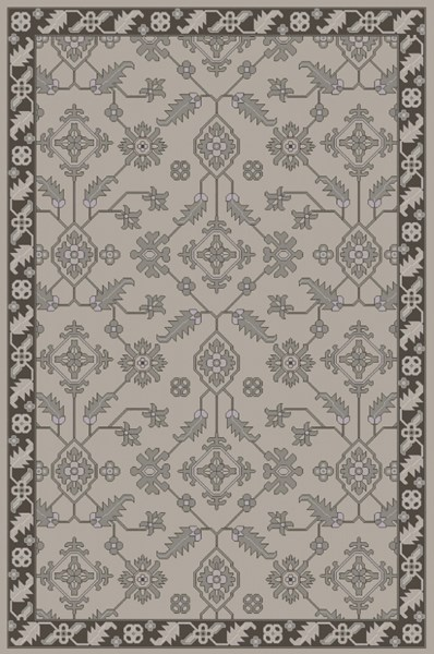 Castello Light Gray Charcoal Moss Wool Area Rug - 60 x 90 CLL1001-576