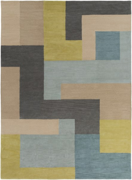Centennial Teal Olive Charcoal Wool Area Rug - 96 x 132 CNT1080-811