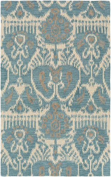 Centennial Teal Beige Olive Wool Area Rug - 60 x 96 CNT1089-58