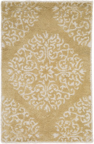 Centennial Contemporary Gold Ivory Fabric Area Rugs 1236-VAR1