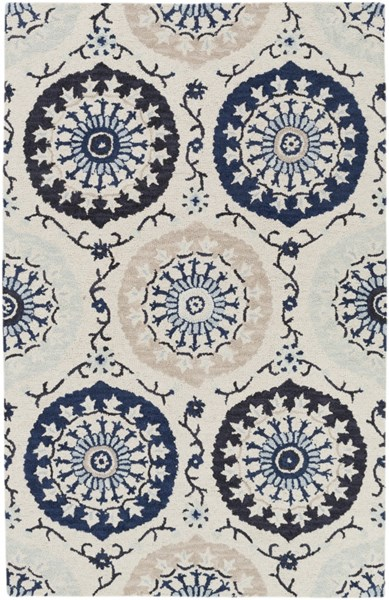 Centennial Navy Taupe Gray Wool Area Rug - 60 x 96 CNT1103-58