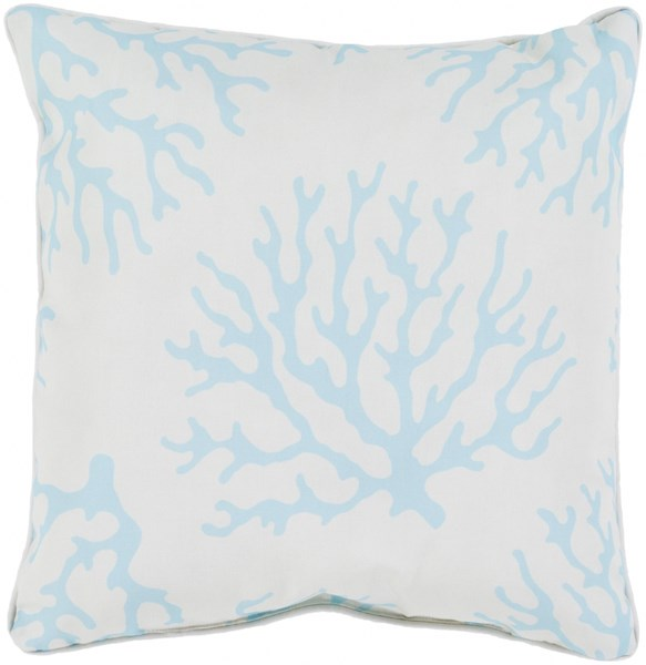 Coral Teal Ivory Polyester Throw Pillow - 20x20x5 CO002-2020