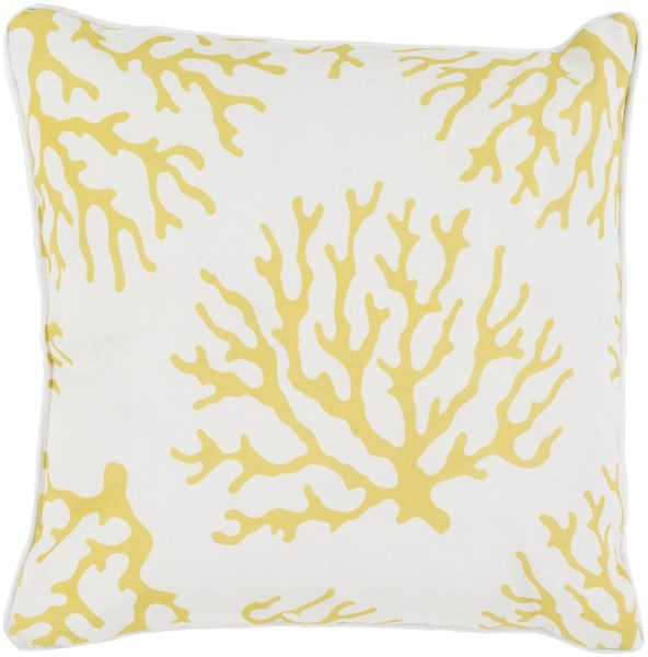 Coral Gold Ivory Polyester Throw Pillow - 16x16x4 CO003-1616