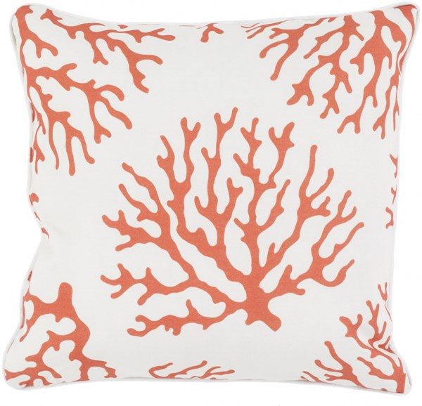 Coral Rust Ivory Polyester Throw Pillow - 20x20x5 CO004-2020