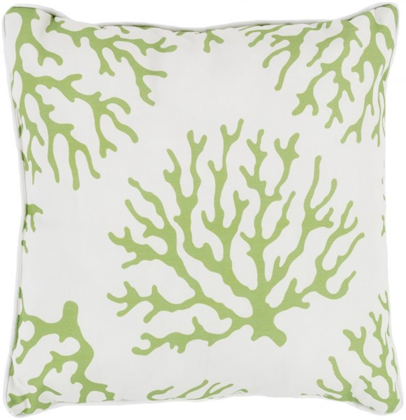 Coral Lime Ivory Polyester Throw Pillow - 20x20x5 CO006-2020