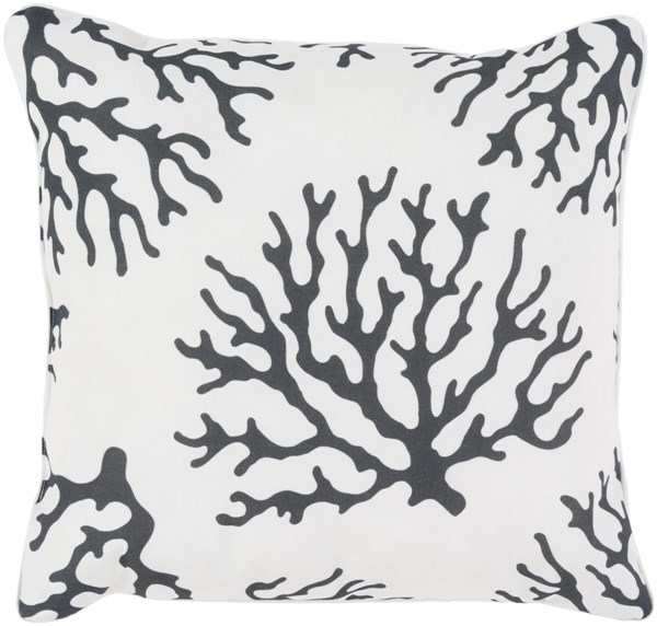 Coral Black Ivory Polyester Throw Pillow - 16x16x4 CO007-1616