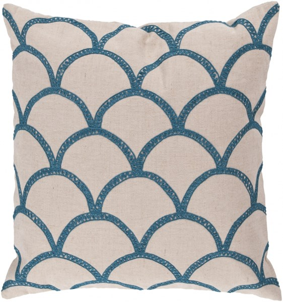 Meadow Ivory Teal Poly Linen Cotton Throw Pillow - 22x22x5 COM007-2222P
