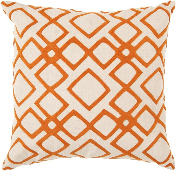 Geo Diamond Ivory Burnt Orange Down Linen Throw Pillow - 22x22x5 COM015-2222D