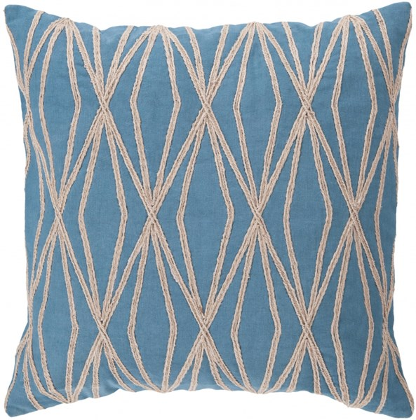 Dominican Aqua Beige Down Cotton Throw Pillow - 22x22x5 COM022-2222D