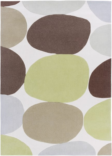 Cosmopolitan Lime Taupe Light Gray Polyester Area Rug (L 132 X W 96) COS8809-811