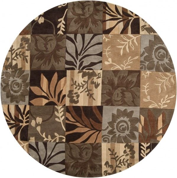 Cosmopolitan Chocolate Olive Beige Polyester Area Rug (L 96 X W 96) COS8817-8RD