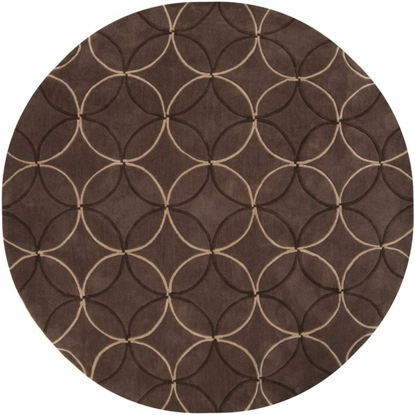 Cosmopolitan Taupe Chocolate Beige Polyester Area Rug (L 96 X W 96) COS8868-8RD