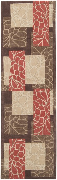 Cosmopolitan Chocolate Beige Rust Polyester Runner (L 96 X W 30) COS8889-268
