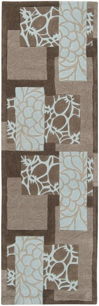 Cosmopolitan Sky Blue Gray Charcoal Polyester Runner (L 96 X W 30) COS8890-268