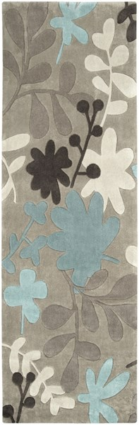 Cosmopolitan Taupe Ivory Teal Polyester Runner (L 96 X W 30) COS8924-268
