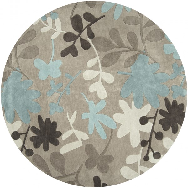 Cosmopolitan Taupe Ivory Teal Polyester Round Area Rug (L 96 X W 96) COS8924-8RD