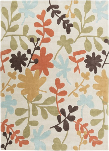 Cosmopolitan Light Gray Rust Gold Polyester Area Rug (L 132 X W 96) COS8926-811