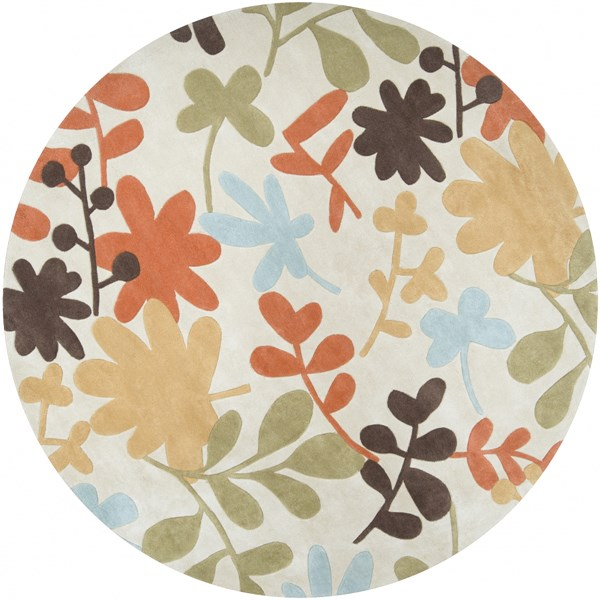 Cosmopolitan Gray Rust Gold Polyester Round Area Rug (L 96 X W 96) COS8926-8RD