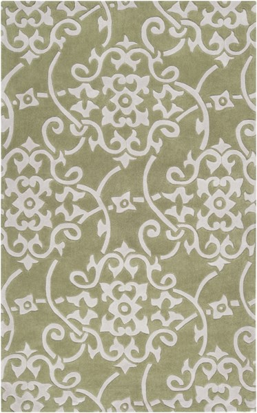 Cosmopolitan Olive Light Gray Polyester Area Rug (L 96 X W 60) COS9047-58