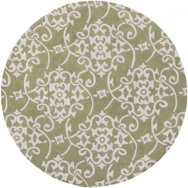 Cosmopolitan Olive Light Gray Polyester Area Rug (L 96 X W 96) COS9047-8RD