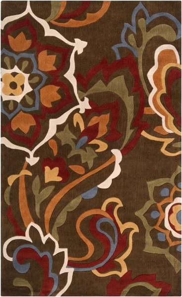 Cosmopolitan Chocolate Burgundy Olive Polyester Area Rug (L 96 X W 60) COS9056-58